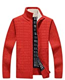 Vcansion Men's Knitted Fleece Cardigan Sweaters Warm Classic Long Sleeve Full Zip up Plus Jacket Coats Lily Orange Red US XL/Asian 3XL