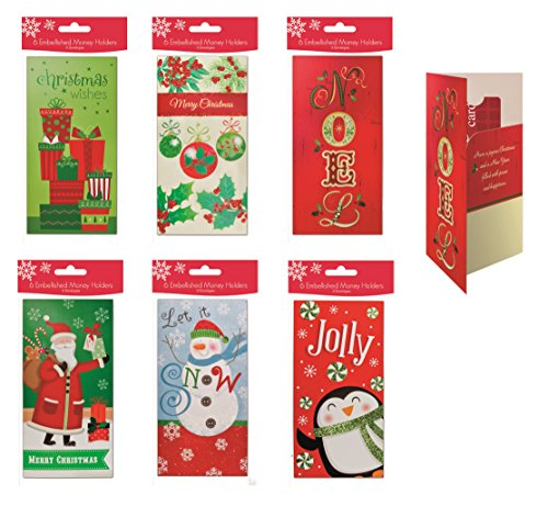 Assorted Embellished Gift Card, and Money Holder Cards, Set of 36 Cards for Christmas, Assorted with Penuins, Santa, Snowman, Noel, Ornaments
