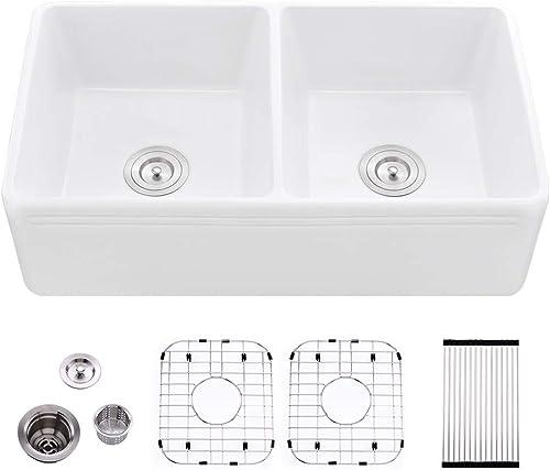 Bokaiya 33 Inch Farmhouse Sink Double Bowl White Apron Front Sink 50 50 Reversible Porcelain Ceramic Fireclay Kitchen Farm Sinks