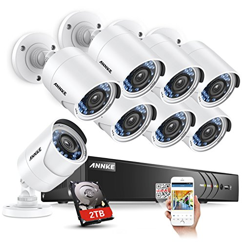 ANNKE 8 Channel 3MP Extreme HD DVR Video Security System with 2TB HDD & 8x2MP Night Vision Bullet CCTV Surveillance Cameras, IP66 Weatherproof, Email Alarm with Picture by ANNKE