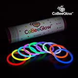 100-Pack Glow Stick Bracelets by CoBeeGlow | Bulk Pack of Thick 6mm 8 Inch GlowStick with Pre-Attached Connectors | 9 Vibrant Neon Colors | Bring Joy Into Your Life