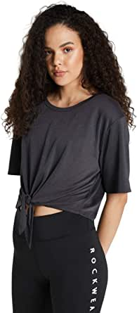 Rockwear Activewear Women's Samba Tie Front Tee Charcoal 4 from Size 4-18 for T-Shirt Tops