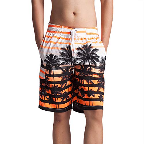 2897e728c96 Men's Bathing Suits Swim Trunks – Quick Dry Striped with Pockets Mesh  Lining S-6XL Orange