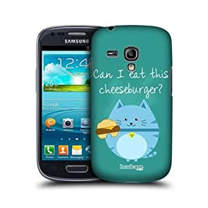 Burger Eating Curious Cats Design Protective Back Case Cover for Samsung Galaxy S III mini I8190