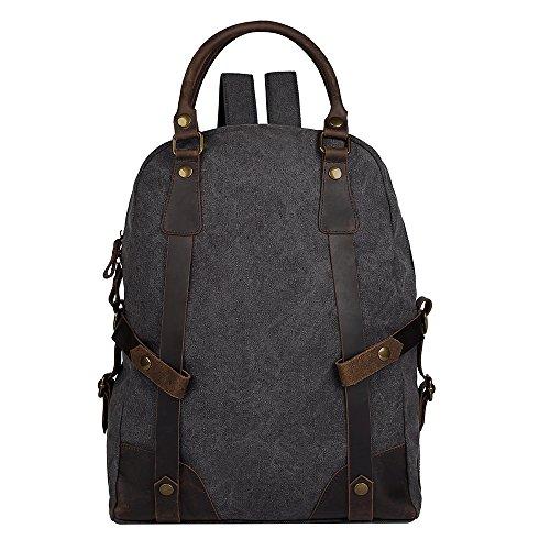 25L Vintage Canvas Leather Backpack for Men, FRFUN 17.3inch Laptop Backpack Waterproof Casual Rucksack Satchel School Bookbag Hiking Travel Rucksack Mountaineering Bag - - Laptop Case Flap Over