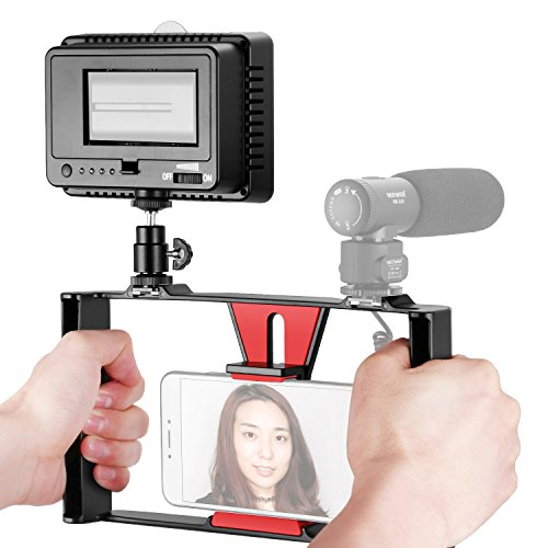 Neewer Smartphone Vídeo Rig con Regulable 160 LED Video Luz Kit, Cinematografía Vlogging Rig Caso, Estabilizador Mano para...