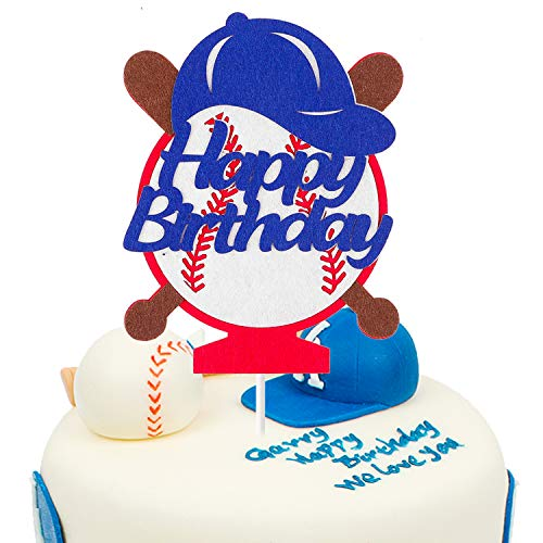 BeYumi Batter-Up Baseball Concessions Birthday Cake Topper, Happy Birthday Cupcake Decoration for Sports Party Supplies
