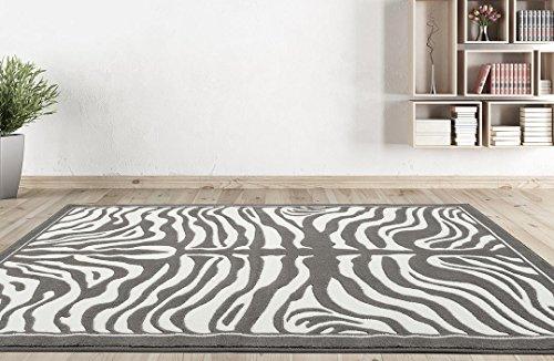 1802 Gray Zebra 5x7 Feet Area Rug Carpet Large New (Gray Zebra)