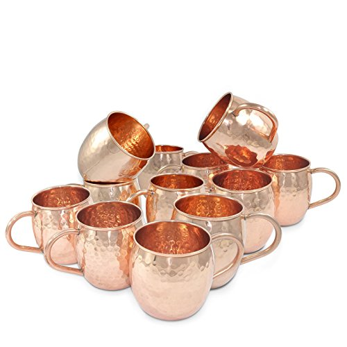 Dungri India Handmade Best Quality  Solid Copper  MOSCOW MULE MUGS - 18 oz / 550 ML - 100% Pure Hammered Copper Vodka Mug - Heavy Gauge - No lining , Set of 24 by Dungri India Craft