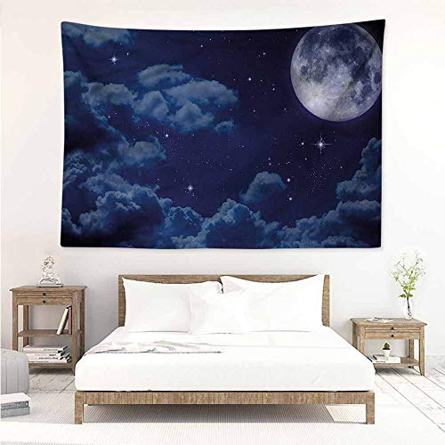 Sunnyhome Simple Tapestry,Night Sky Full Moon Lunar Clouds,Literary Small Fresh,W23x19L