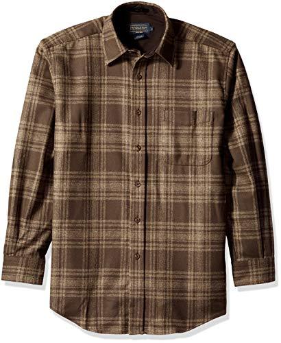 Pendleton Men's Long Sleeve Button Front Classic Lodge Shirt, Brown/Taupe Mix Plaid, ()