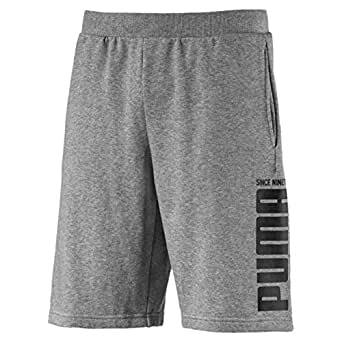 PUMA Men's Rebel Bold Shorts, Medium Gray Heather, S