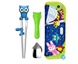 Edison Toddler Utensils Stainless Chopsticks Owl Spoon&Pouch Set (Blue)