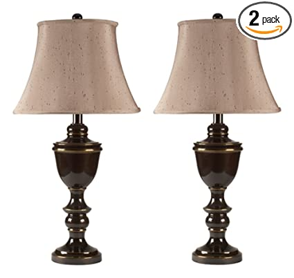 Ashley Furniture Signature Design   Glyn Metal Table Lamp   Elegant Bell  Shades   Set Of