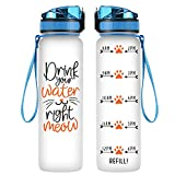 Coolife 32oz 1 Liter Motivational Tracking Water Bottle with Hourly Time Marker | Drink Your Water Right Meow | Funny Birthday Gifts for Women, Cat Lovers, Cat Moms, Best Friend, Coworkers
