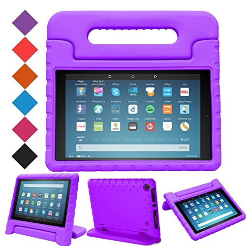"MENZO Case for All-New Fire HD 8 2017 - Shockproof Convertible Handle Light Weight Protective Stand Cover Kids Case for All-New Kindle Fire HD 8"" 2017 Tablet, Purple"