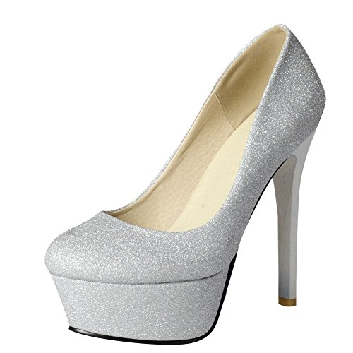 MissSaSa Damen elegant Stiletto glitzer Plateau-Pumps Silber