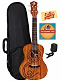 Luna Malu Mahogany Maluhia (Peace) Concert Ukulele Bundle with Hard Case, Tuner, Instructional DVD, and Austin Bazaar Polishing Cloth
