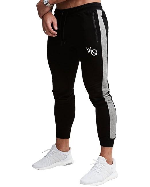 Men Slim Fit Tracksuit Sports Gym Pants Zipper Skinny Joggers Sweatpants Trouser