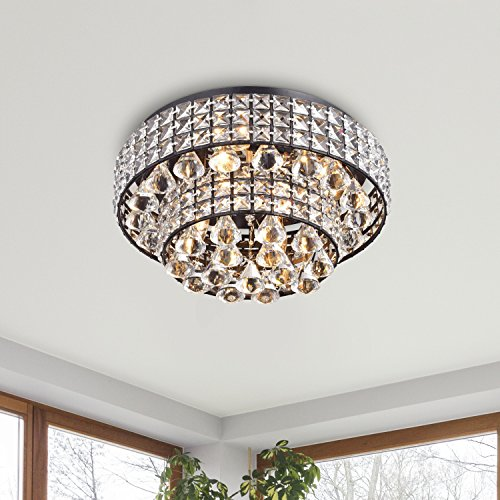 Jojospring Jolie Antique Black Two Tier Crystal Shades Flush Mount Chandelier