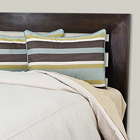 Brite Ideas Living Company Circa Solid Dune 86 Width X 90 Length Oversized Duvet With Cape Cod Aqua Corded Shams Full