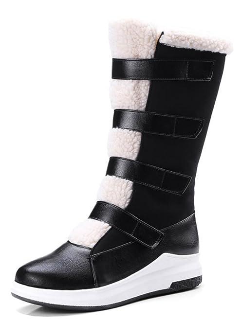 Women's Warm Faux Fur Lined Mid Calf Snow Boots Wedge Heels Platform Down Booties