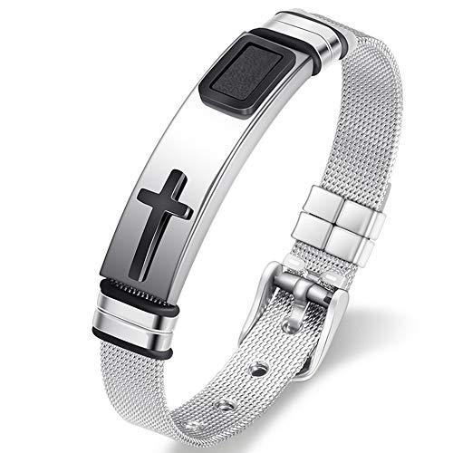 Jzone Stainless Steel Religious Cross Bracelet for Mens