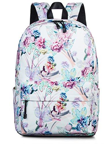 Leaper Floral Backpack for Girls College School Bookbag Travel Daypack Beige