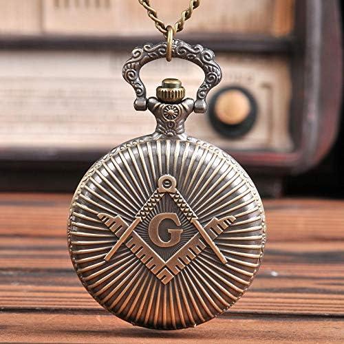 FEELHH Vintage Ketten Taschenuhr,Große Bronze Brief&Quot;G&Quot; Mit Zwei Schwert Streifen Taille Geschenk Taschenuhr Mit Kette