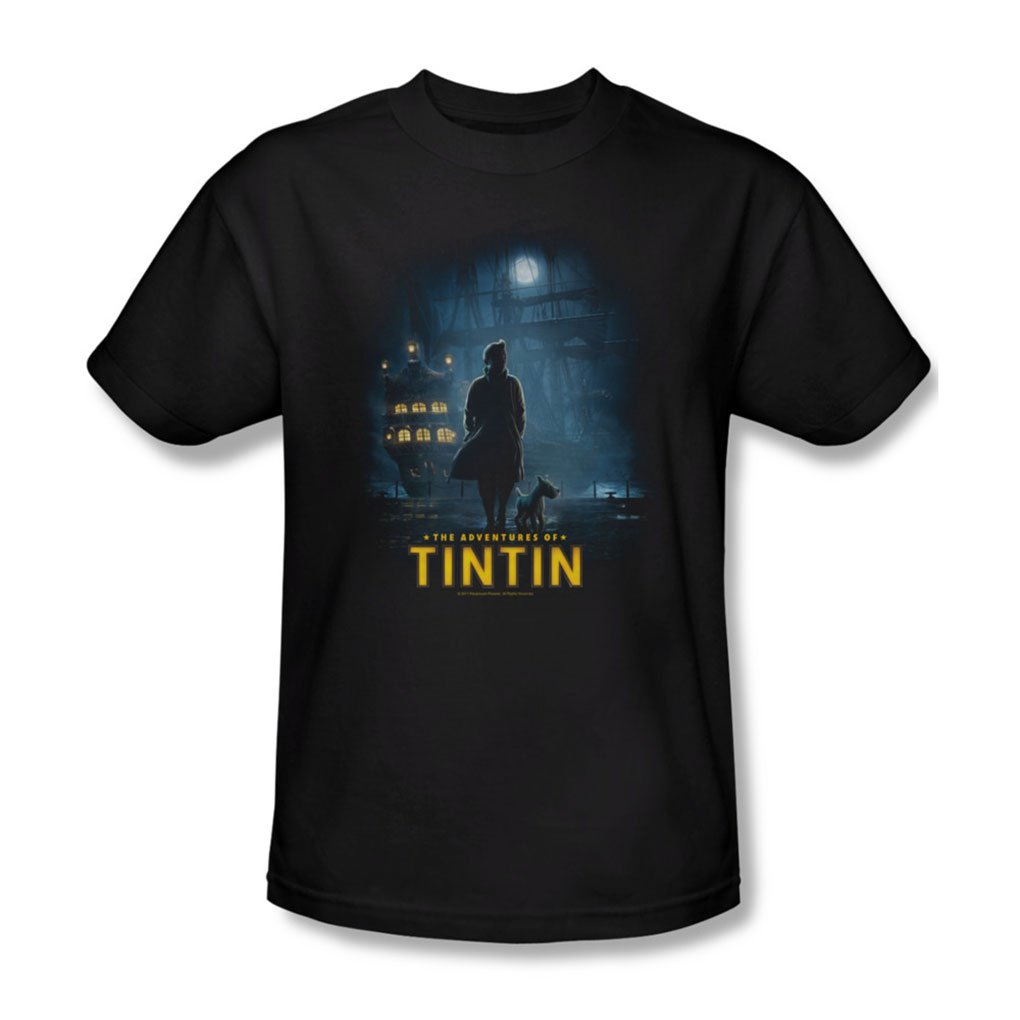 Shop Tintin S Title Poster T Shirt In Black