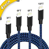 Phone Cable,4-Pack Universal 8 Pin USB A Cable Durable Braided Charger Cord for iPhone X/8/8Plus/ 7/7Plus/IPad Pro[Black&Blue]