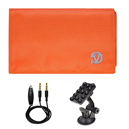 Price comparison product image Vangoddy Universal Poly Nylon Hybrid Wallet Case (Orange/Grey) for Apple iPhone 7 Plus / iPhone 7 / SE / 6S / 6S Plus + AUX Cable & Windshield Car Mount