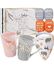 New Parents Pregnancy Gifts for First Time Moms and Dads Includes Premium Gift Basket with Mom and Dad Mugs 14 oz - Expecting Mother to be - Welcome Baby Shower Gender Reveal