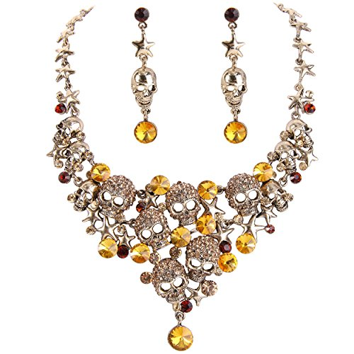 (EVER FAITH Women's Crystal Gothic Skulls Stars Necklace Earrings Set Brown Antique Gold-Tone )