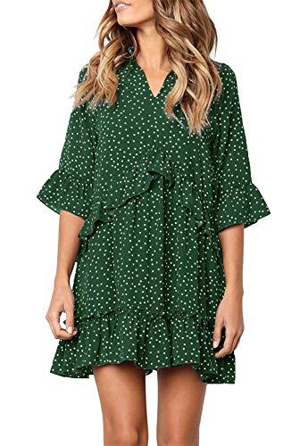 (onlypuff Green Polka Dot V Neck Dress for Women Ruffled Dresses Swing Tunic Shirt V Neck Half Sleeves L)