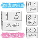 BFS Baby Milestone Blocks | Baby Age Photo Blocks | Wood Baby Milestone | Milestone Photo Age Blocks | Unique Neutral Photo Sharing Prop (for Boy or Girl) | Perfect and Keepsake