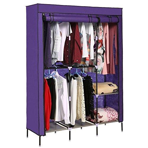 Homdox Foldable Clothes Wardrobe Closets Double Rod Non-woven Fabric Storage Organizer w/Shelves (Coffee)