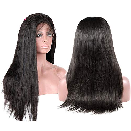 250% Lace Front Human Hair Wigs Preplucked Brazilian Hair Wig With Baby Hair 13x4 Straight Remy Lace Front Wigs,#1B,14inches,150% -