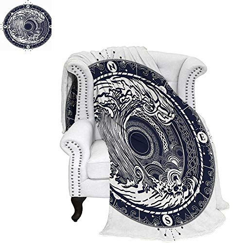 - WilliamsDecor Compass Throw Blanket Sea Navigation with a Drawing of Tempest Inside Big Wave Adventure Journey Warm Microfiber All Season Blanket for Bed or Couch 60