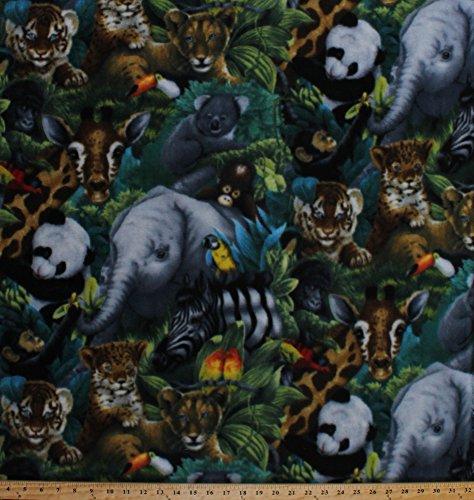 Baby Fabric Fleece - Fleece A Rare Occasion Baby Animals Jungle Safari Elephants Giraffes Pandas Tigers Cheetahs Animal Fleece Fabric Print by the Yard kal-2016-3a-1