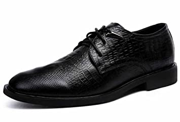 Glshi Men Pointed Toe Derby Shoes New Business Shoes Crocodile