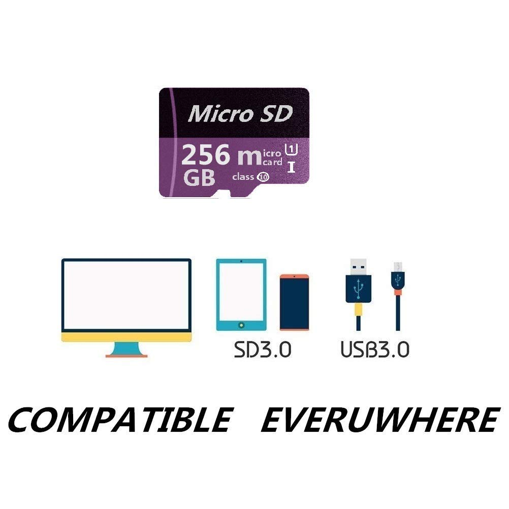 Micro SD Card 256GB High Speed Class 10 Micro SD SDXC Card with Adapter by Geneircc