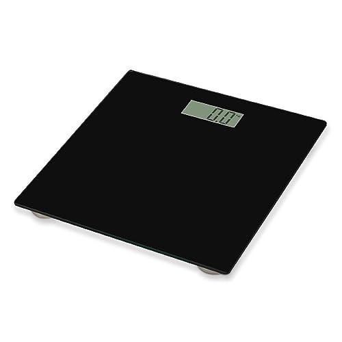 Home Treats ® Sleek Black Digital Bathroom Scale, LCD Displays St, Lb's or Kg's