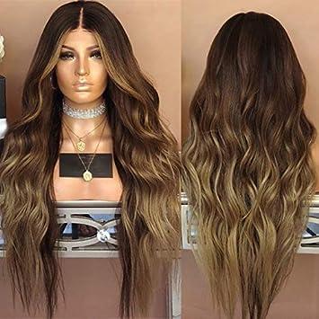 Neuf femmes dégradé Marron Cheveux longs bouclés Perruques Blond Perruque  Cheveux synthétiques complète des Perruques Couleurs 7afc272415c