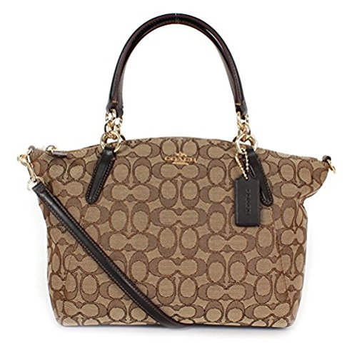 Coach Signature Small Kelsey Satchel Shoulder Bag Handbag, Khaki, Brown Signature Small Satchel