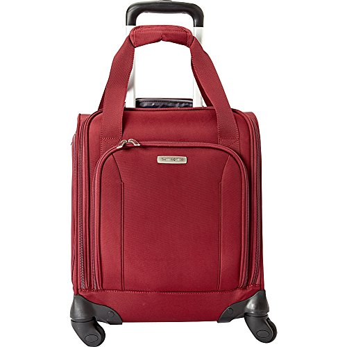 Unisex Zipped Compact Wallet - Samsonite Spinner Underseater with USB Port, Rolling Carry-On With Laptop Pocket - Fits 14.2 Inch Laptop - (Port Wine)