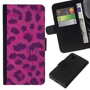 All Phone Most Case / Oferta Especial Cáscara Funda de cuero Monedero Cubierta de proteccion Caso / Wallet Case for LG Nexus 5 D820 D821 // Pattern Fur Pink Animal Black