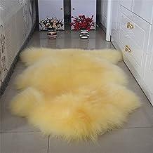 Sheepskin Area Rugs, One Pelt Natural Fur Wool Carpet Sheep Skin Rug Floor Mat Seat Cover Wool Chair Pad Bedroom Bedside Carpet Livingroom Sofa Mat Home Decor, 80x120cm, Beige