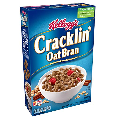 Kellogg's Breakfast Cereal, Cracklin' Oat Bran, Excellent Source of Fiber, Made with Whole Grain, 17 oz Box ()