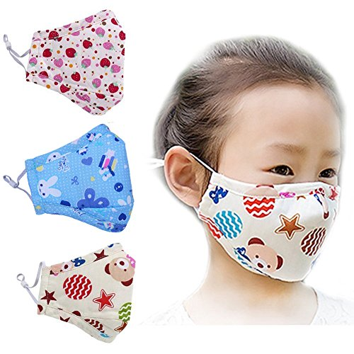 ZWZCYZ 3Pcs Kids Cartoon Cars Cotton Mask Children's PM2.5 Guaze Mask Dustproof Face Mask with N95 Filters (Strawberry+Blue Star+Little Bear)